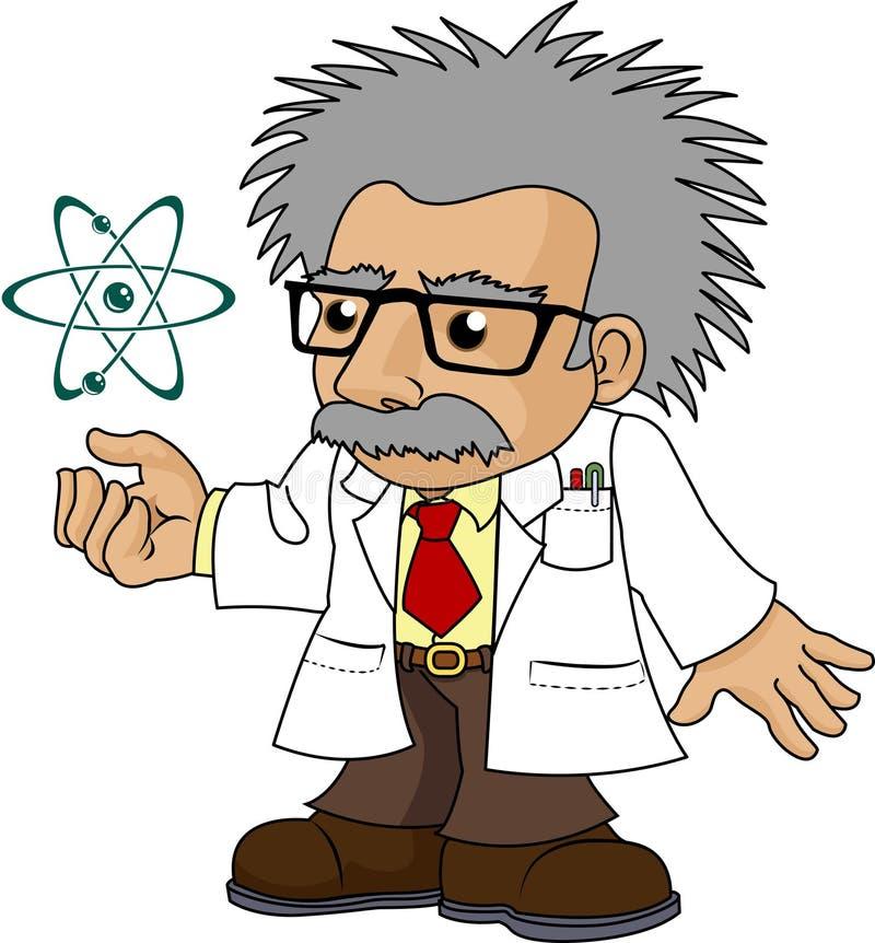 Illustratie van nootachtige wetenschapsprofessor stock illustratie