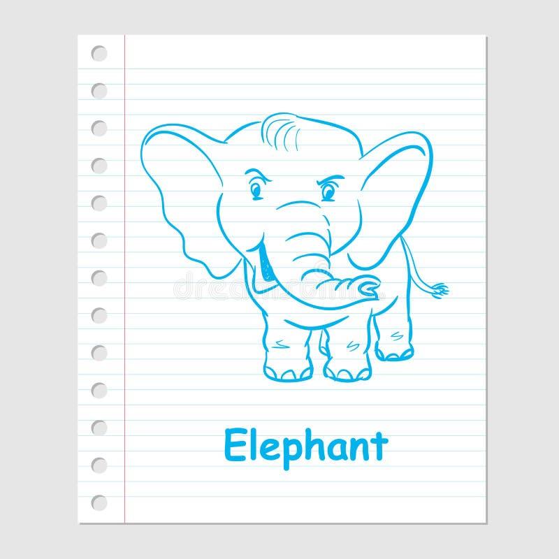 Illustratie van Olifantsbeeldverhaal op document blad - Vector stock illustratie