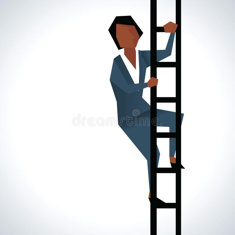 Illustratie van Onderneemster Climbing Ladder stock illustratie