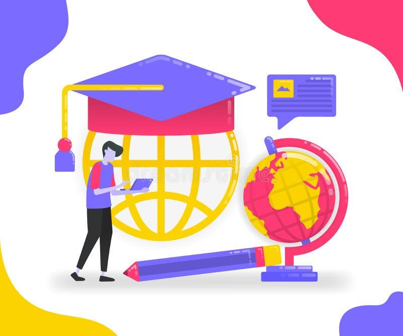 Illustratie van onderwijs en studentenuitwisseling Leer van diverse plaatsen Online te bestuderen leren en universiteit Vlakke ve stock illustratie