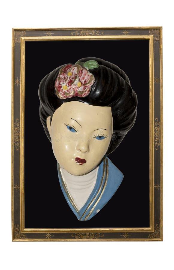 Illustratie van ontworpen geishaportret stock fotografie