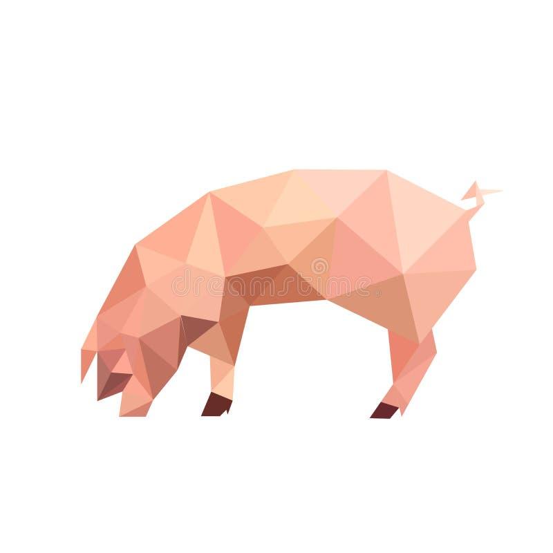 Illustratie van origami roze varken stock fotografie
