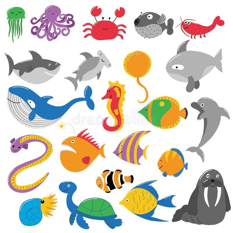 Illustratie van overzeese schepselen royalty-vrije illustratie