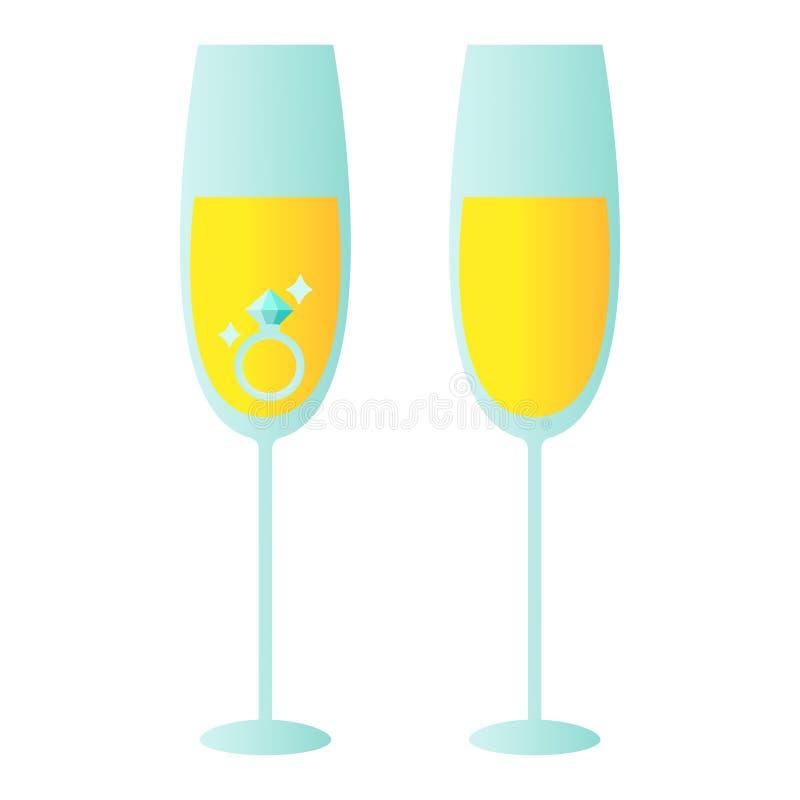 Illustratie van paar van verlovingsring in champagneglas pictogramvector stock illustratie