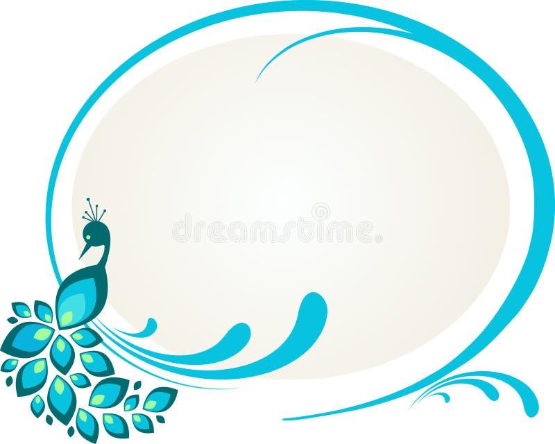 Illustratie van pauwzitting op bloemenframe vector illustratie