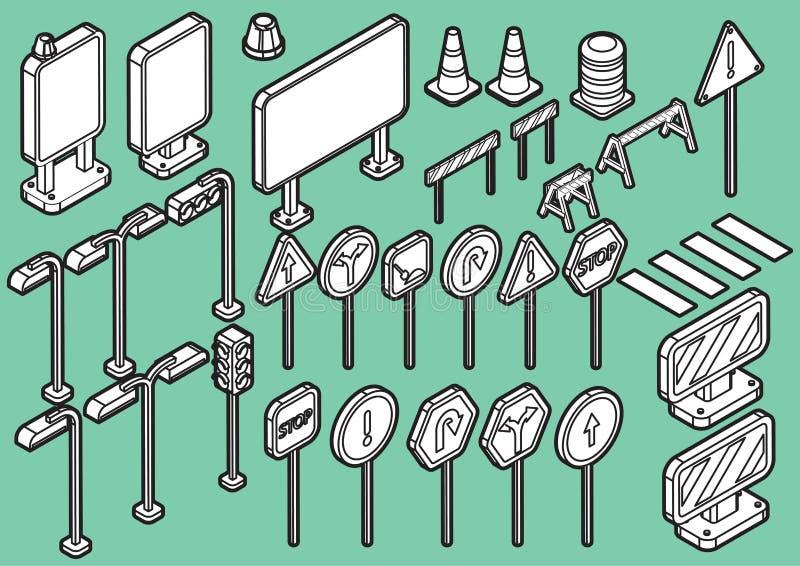 Illustratie van pictogrammen van informatie de grafische verkeersteken geplaatst concept stock illustratie