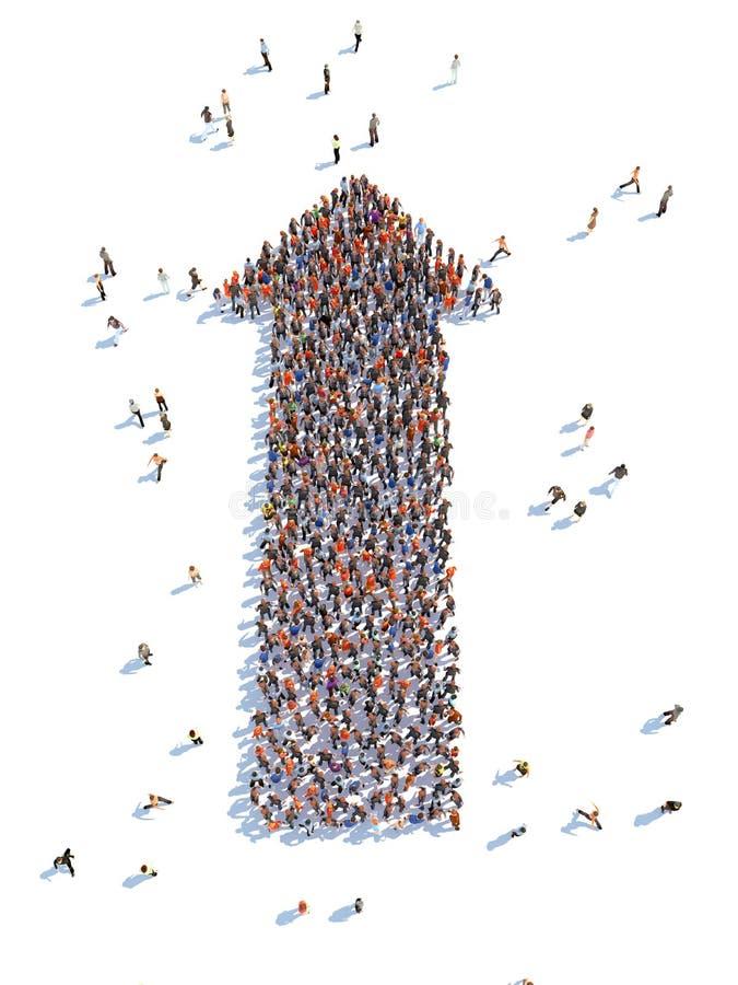 Illustratie van pijl met mensen stock illustratie
