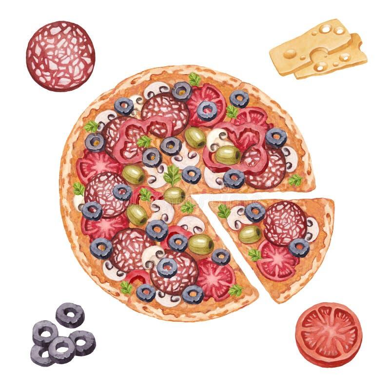 Illustratie van pizza en ingrediënten vector illustratie