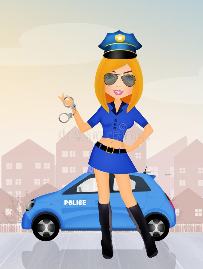 Illustratie van politiemeisje vector illustratie