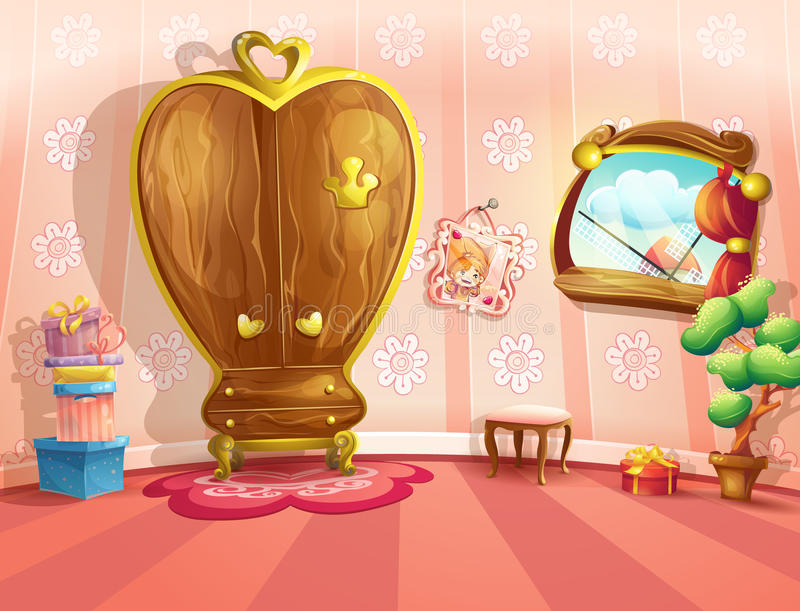 Illustratie van prinsesslaapkamers in beeldverhaalstijl royalty-vrije illustratie