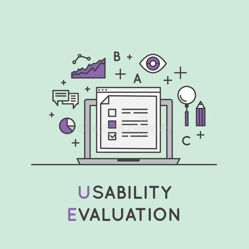 Illustratie van Proces van de Bruikbaarheids het Testende Evaluatie stock illustratie