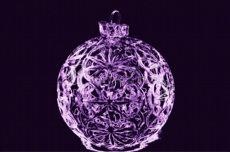 Illustratie van purpere Kerstmisbal royalty-vrije stock afbeeldingen