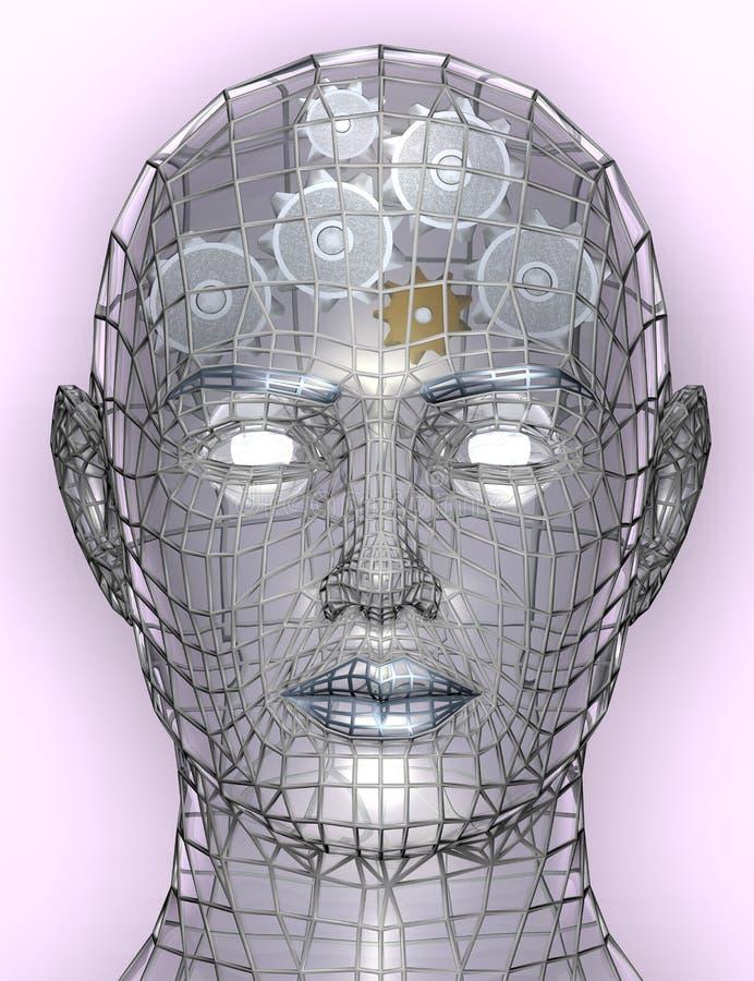 Illustratie van radertjes of toestellen in menselijk hoofd royalty-vrije illustratie