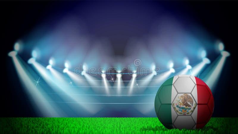 illustratie van realistische die voetbalbal in de nationale vlag van Mexico op aangestoken stadion wordt geschilderd De vector ka stock illustratie