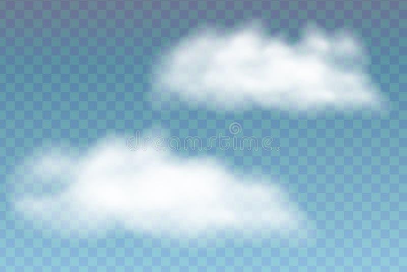 Illustratie van realistische wolken, die op transparante backgr wordt geïsoleerd royalty-vrije illustratie