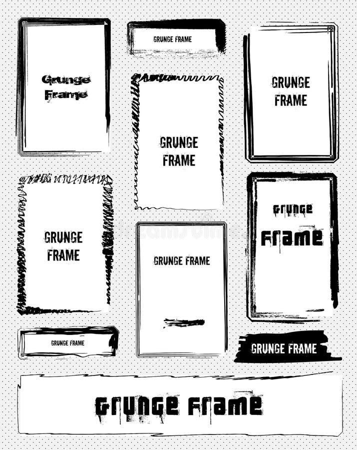 Illustratie van reeks grunge kaders. Vector royalty-vrije illustratie