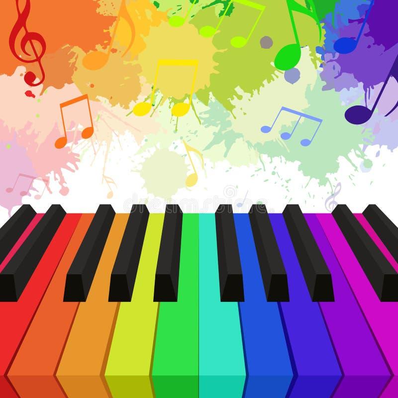 Illustratie van regenboog gekleurde pianosleutels royalty-vrije illustratie