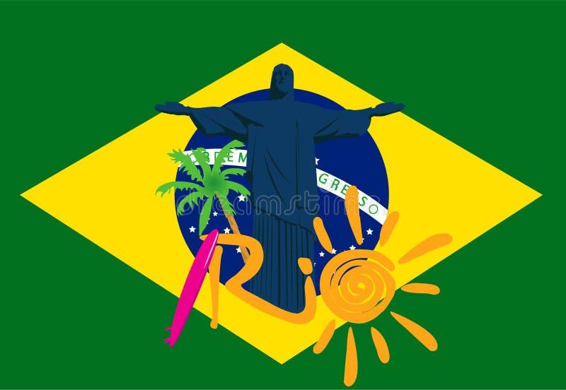 Illustratie van Rio 2016 spelen eps 10 De banners van het sportconcept 2016 Brazilië royalty-vrije illustratie
