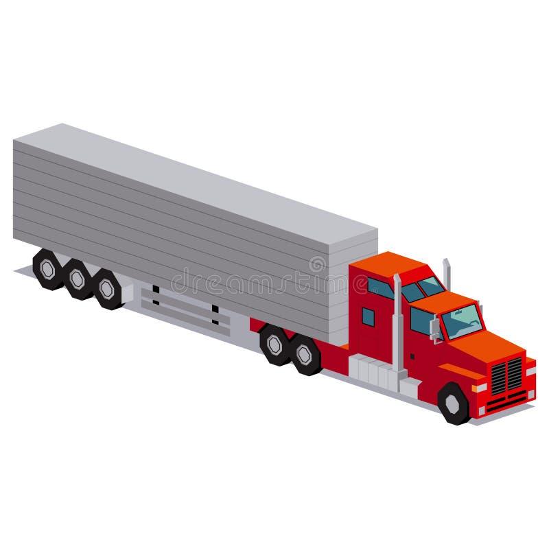 Illustratie van Rode die Vrachtwagen op Witte Achtergrond wordt geïsoleerd stock illustratie