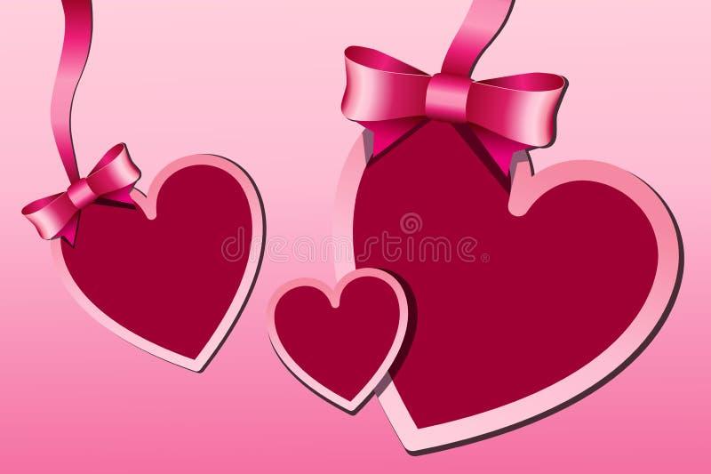 Illustratie van rode hartstickers die wordt gemaakt royalty-vrije stock afbeeldingen