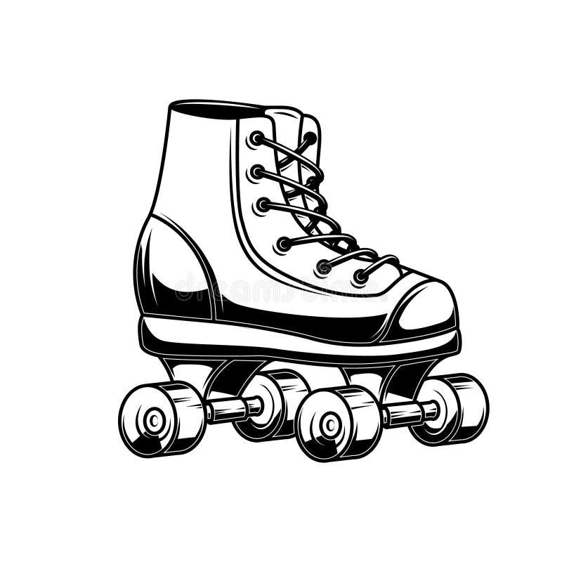 Illustratie van rolschaatsen Ontwerpelement voor embleem, etiket, embleem, teken, affiche stock illustratie