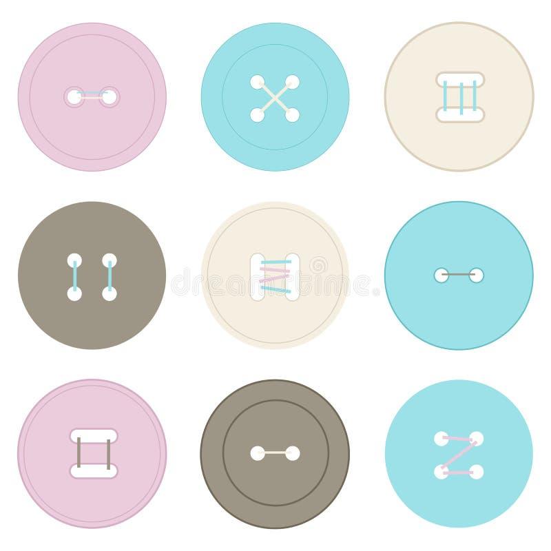 Illustratie van ronde kleurrijke knopen voor kleren vector illustratie
