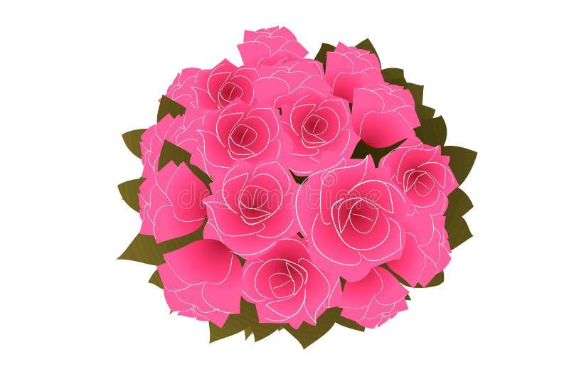 Illustratie van roze bloemen op witte achtergrond stock foto's