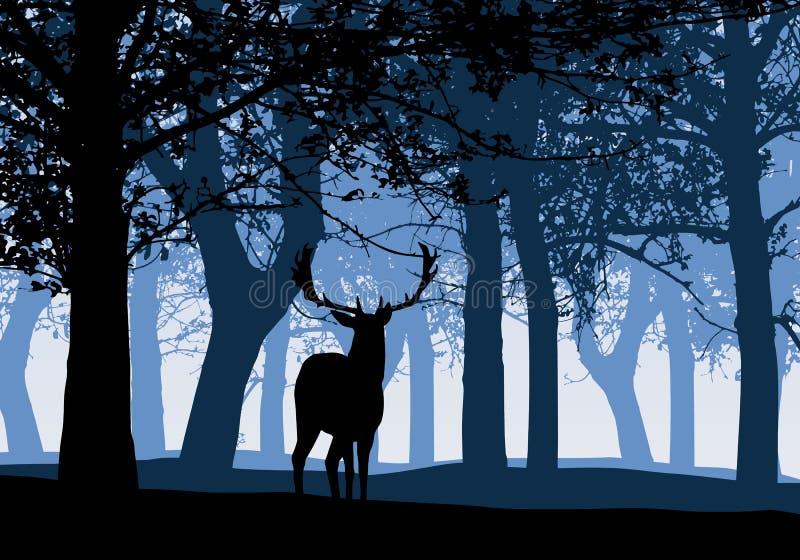 Illustratie van silhouet van een hert met vergankelijk bos blauwe hemel, vector vector illustratie