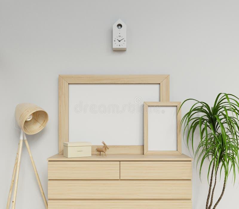 illustratie van Skandinavisch huisbinnenland met twee a1 en leeg de affichemodel van a3 met houten kaderzitting op eenvoudige lad vector illustratie
