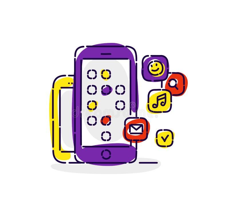 Illustratie van smartphones met pictogrammen van sociale netwerken Tekening op witte achtergrond wordt geïsoleerd die Vector vlak royalty-vrije illustratie