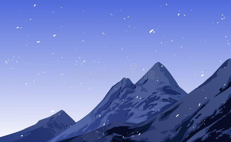 Illustratie van sneeuwvalscène royalty-vrije illustratie