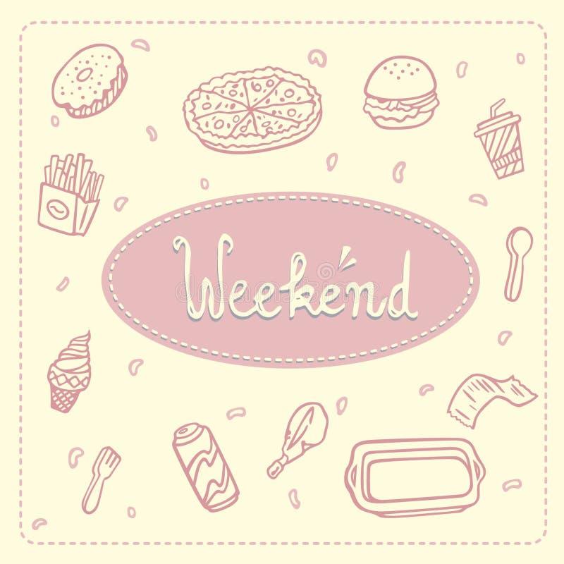 Illustratie van snel voedsel: pizza, donuts, hamburger, gebraden gerechten, koffie, kip, royalty-vrije illustratie