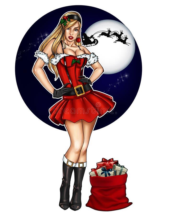 Illustratie van speld omhoog omhoog gekleed voor Kerstmisfestiviteit royalty-vrije illustratie