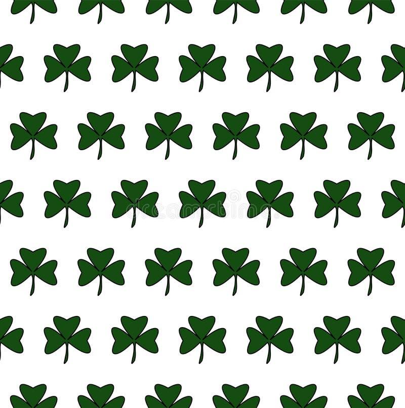 Illustratie van St Patrick Day Naadloos patroon met klaverbladeren royalty-vrije illustratie