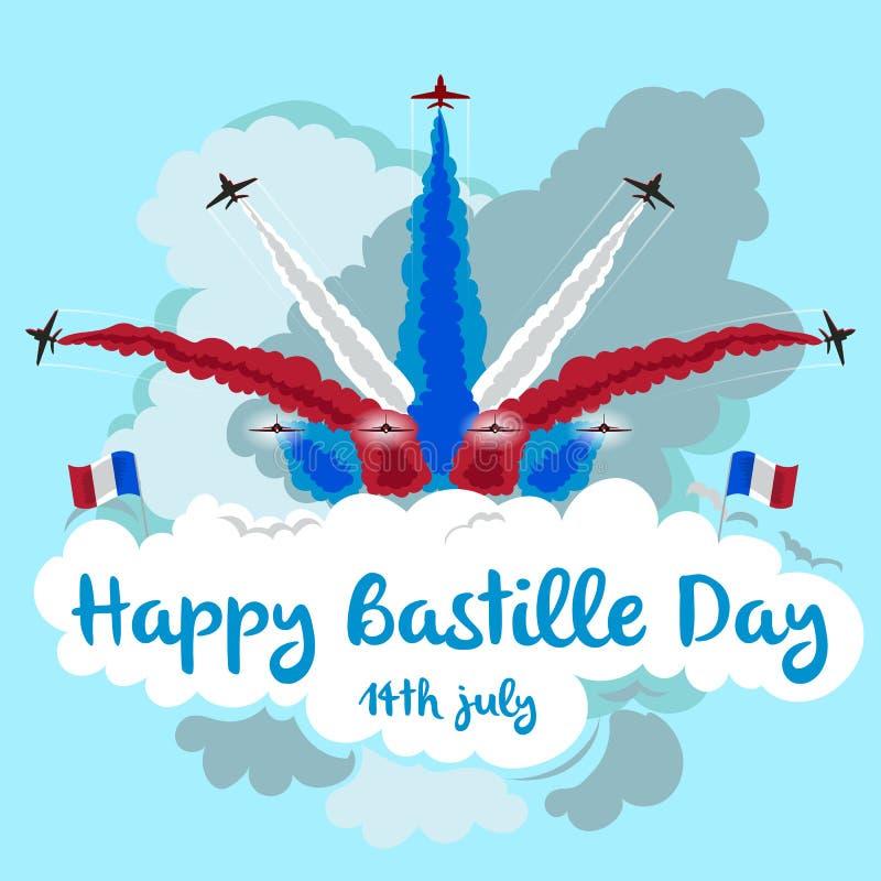 Illustratie van stralen die in vorming met exemplaarruimte vliegen Gelukkige Bastille-dag stock illustratie