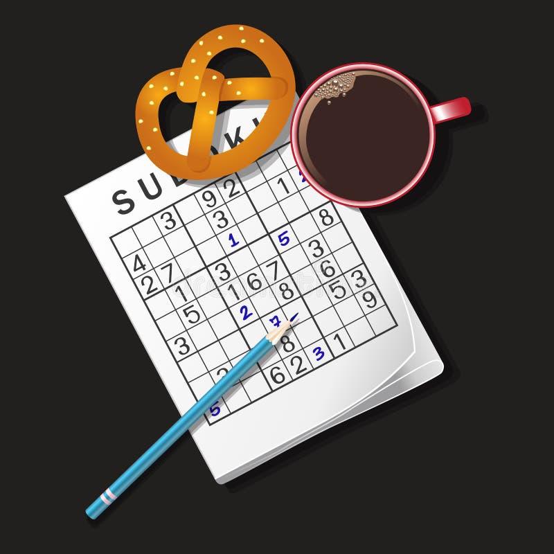 Illustratie van Sudoku-spel, mok koffie en pretzel stock illustratie