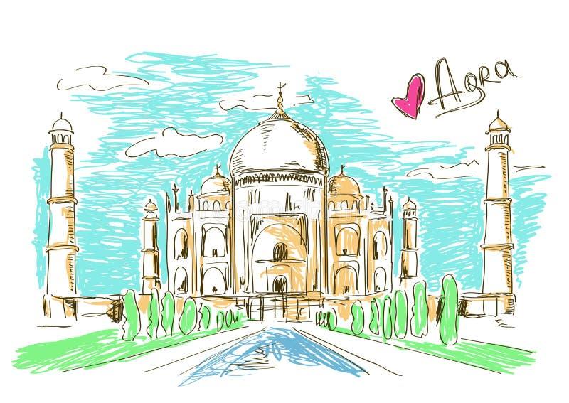 Illustratie van Taj Mahal in Agra stock illustratie