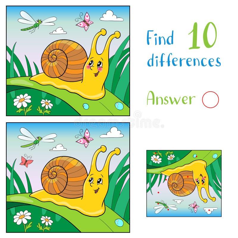 Illustratie van tekenfilm over grappige slak en insect voor kinderen Vind 10 verschillen vector illustratie