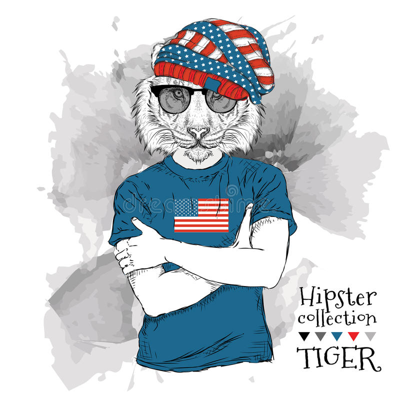 Illustratie van tijger hipster omhoog gekleed in de glazen en in de t-shirt met druk van de vlag van de V.S. Vector illustratie royalty-vrije illustratie