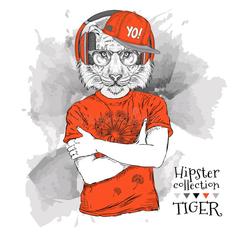 Illustratie van tijger hipster omhoog gekleed in t-shirt, broek en in de glazen en de hoofdtelefoons stock illustratie