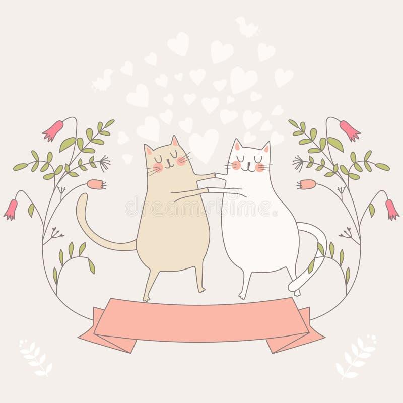 Illustratie van twee bij liefdekatten royalty-vrije illustratie