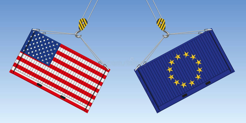 Illustratie van twee containers vóór het effect, symbool van de commerciële oorlog tussen Amerikanen en Europeanen vector illustratie