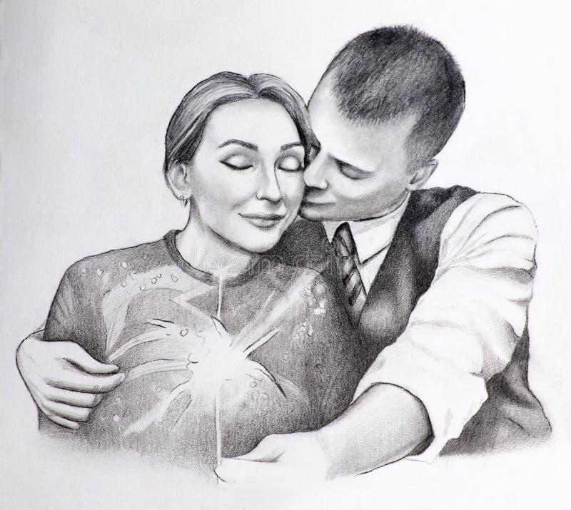 Illustratie van twee die mensen in liefde koesteren stock afbeelding