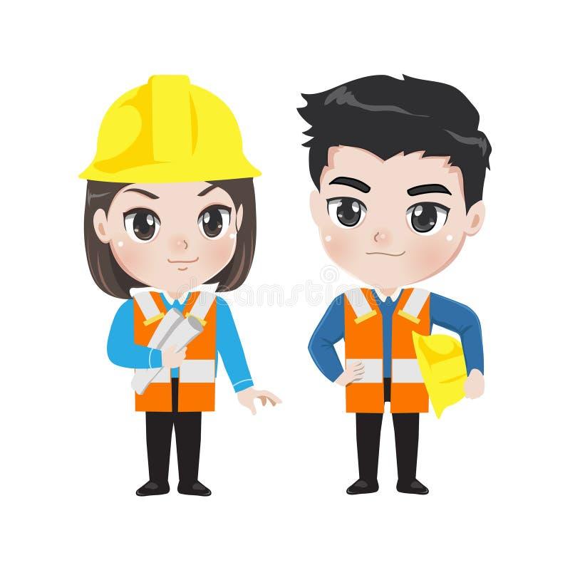 Illustratie van twee ingenieursarbeiders stock illustratie