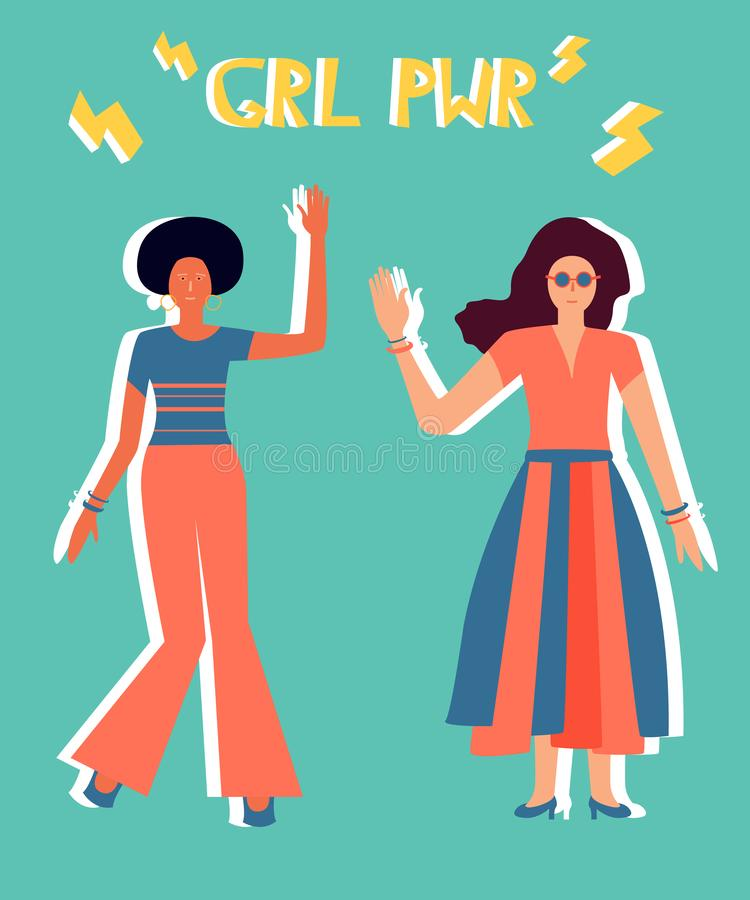 Illustratie van twee meisjes in heldere kleren royalty-vrije illustratie