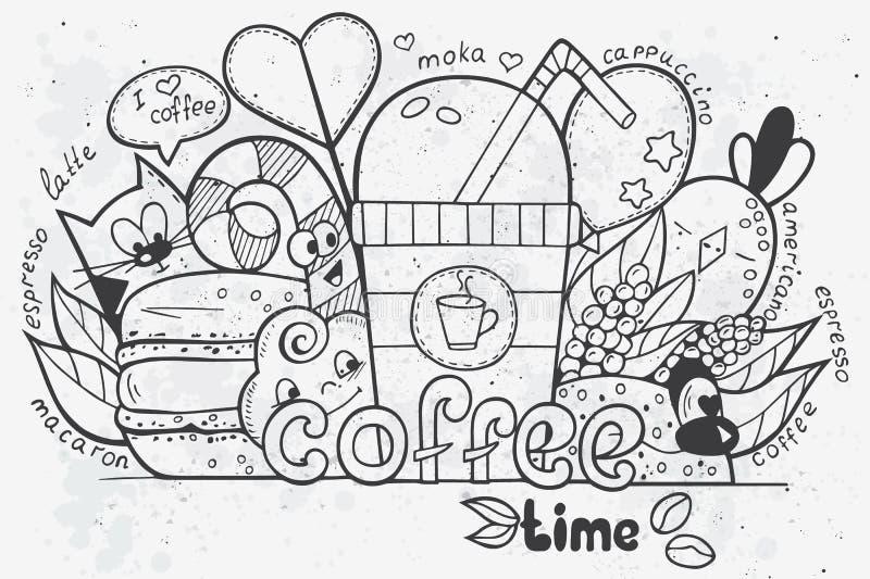 Illustratie van vectordiekrabbels met de hand op het thema van tijd voor koffie worden getrokken vector illustratie