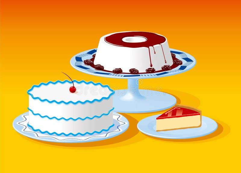 Illustratie van verscheidene dessertsschotels met inbegrip van pastei, cake en pudding vector illustratie