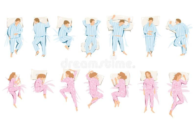 Illustratie van verschillende standpunten die zij in slaap en droom innemen vector illustratie