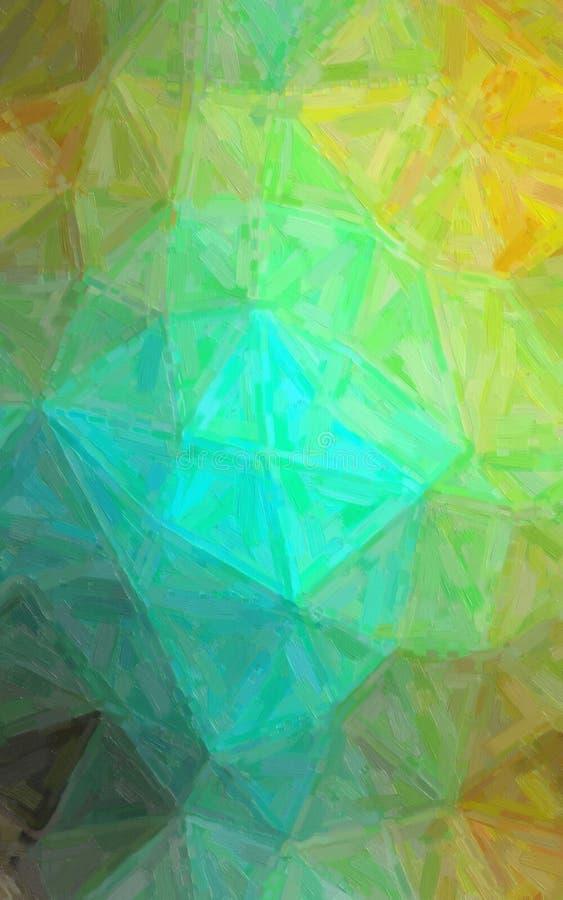 Illustratie van Verticale gele, blauwe en bruine Abstracte Olieverfschilderijachtergrond stock foto's