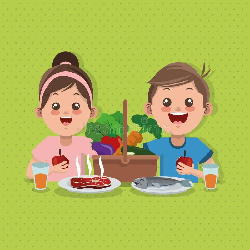 Illustratie van verwant jonge geitjesmenu, vectorontwerp, voedsel en voeding vector illustratie